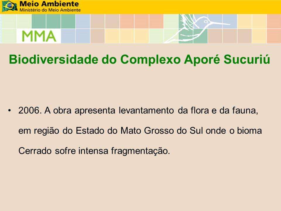 Biodiversidade do Complexo Aporé Sucuriú 2006. A obra apresenta levantamento da flora e da fauna, em região do Estado do Mato Grosso do Sul onde o bio