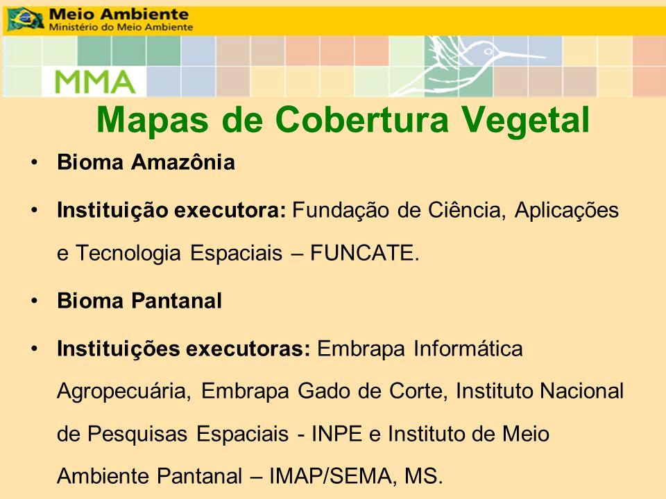Mapas de Cobertura Vegetal Bioma Amazônia Instituição executora: Fundação de Ciência, Aplicações e Tecnologia Espaciais – FUNCATE. Bioma Pantanal Inst