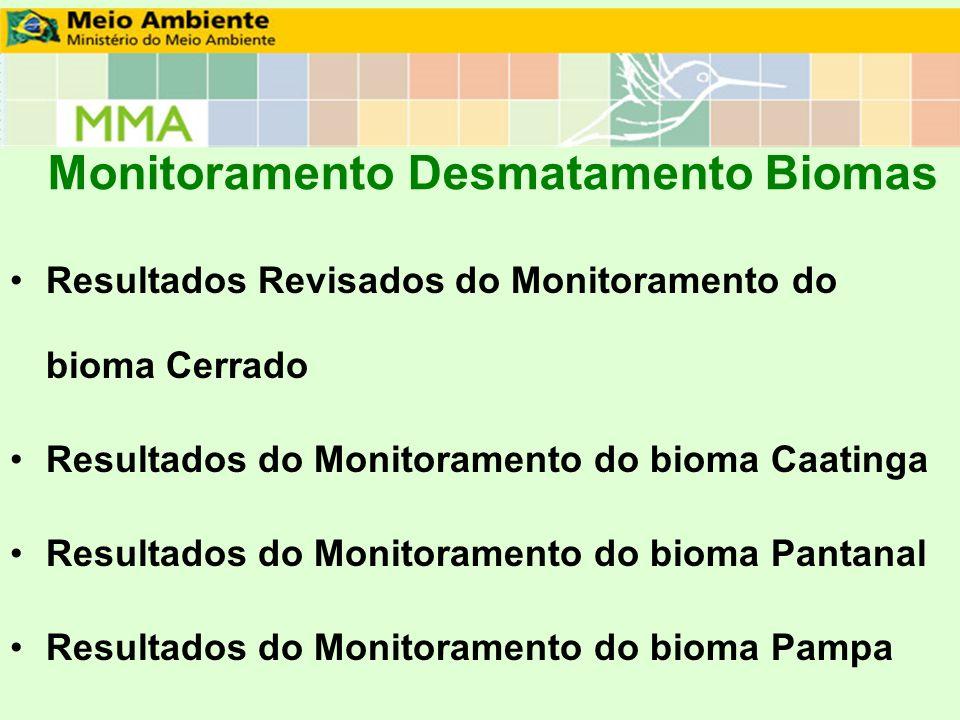 Monitoramento Desmatamento Biomas Resultados Revisados do Monitoramento do bioma Cerrado Resultados do Monitoramento do bioma Caatinga Resultados do M