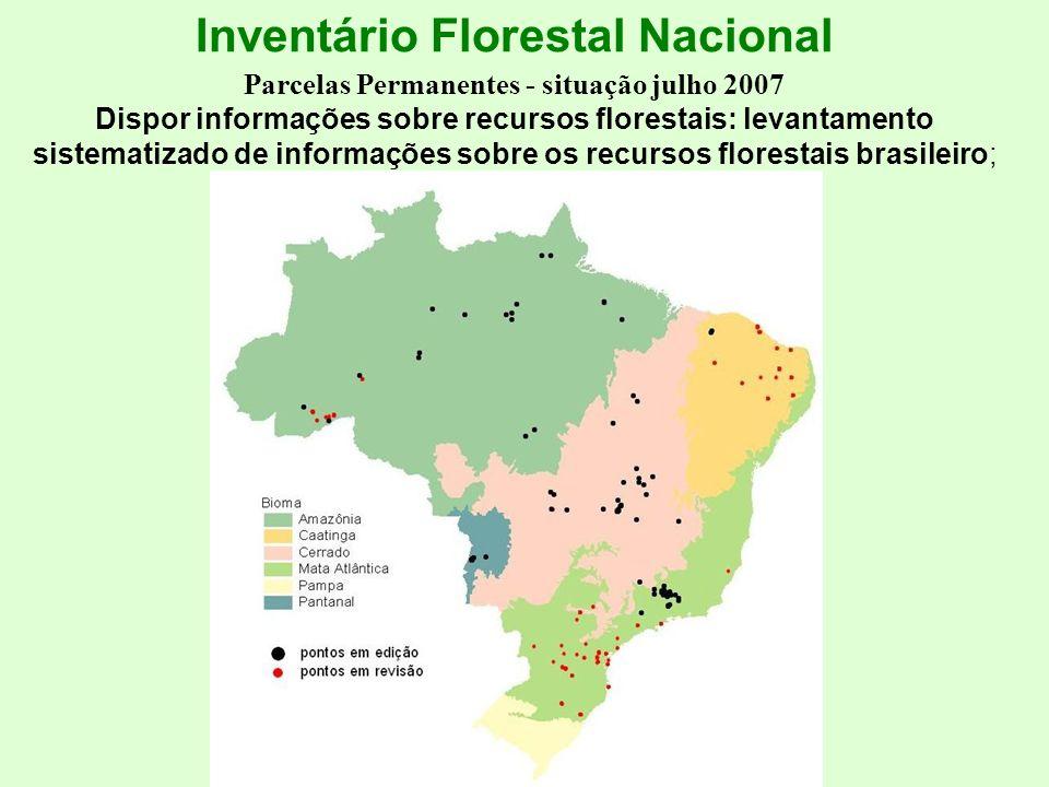 Inventário Florestal Nacional Parcelas Permanentes - situação julho 2007 Dispor informações sobre recursos florestais: levantamento sistematizado de i