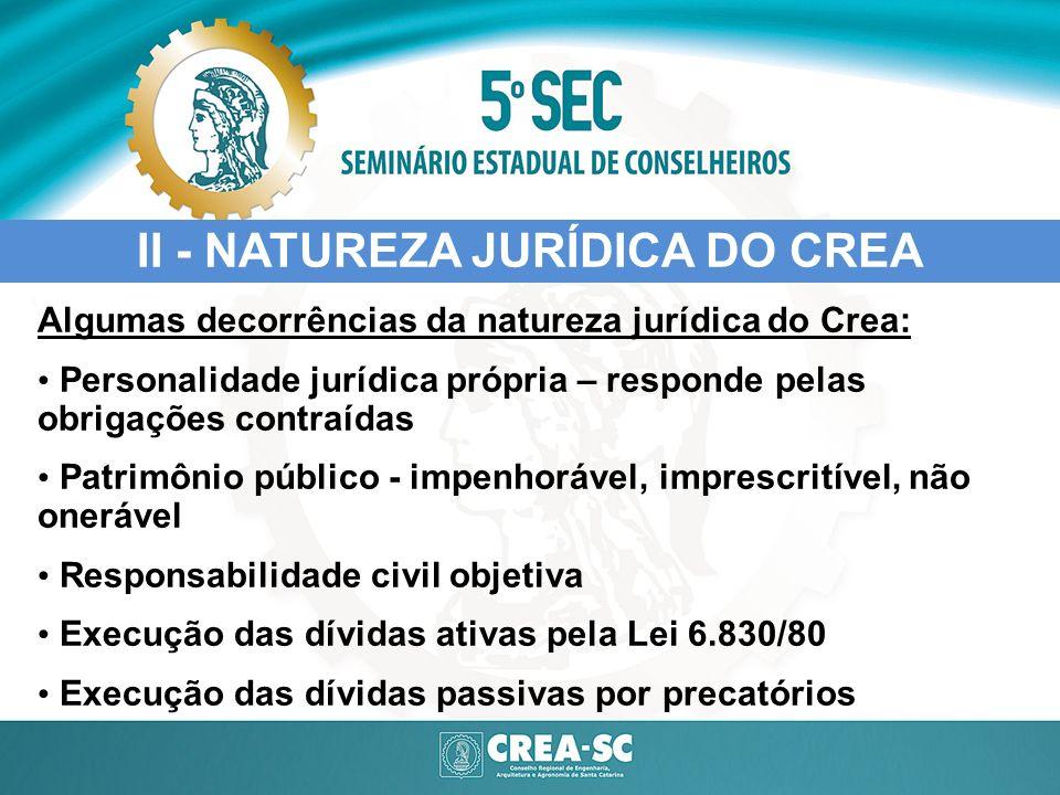 II - NATUREZA JURÍDICA DO CREA Algumas decorrências da natureza jurídica do Crea: Personalidade jurídica própria – responde pelas obrigações contraída