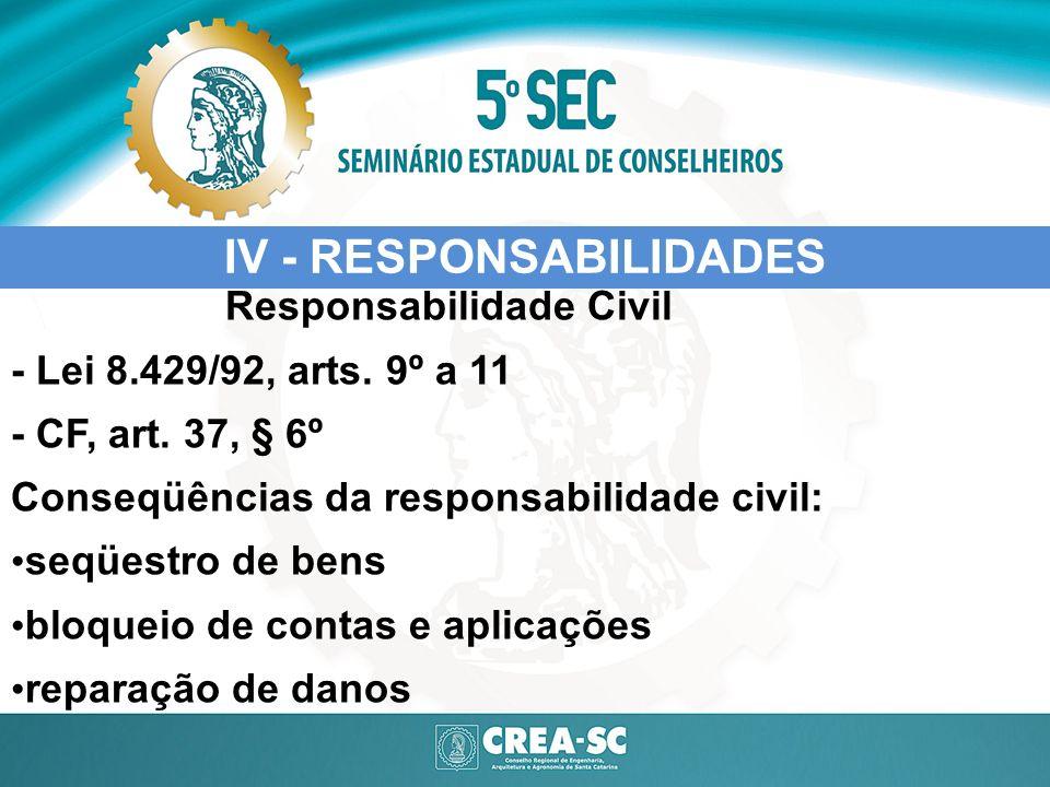 IV - RESPONSABILIDADES Responsabilidade Civil - Lei 8.429/92, arts. 9º a 11 - CF, art. 37, § 6º Conseqüências da responsabilidade civil: seqüestro de