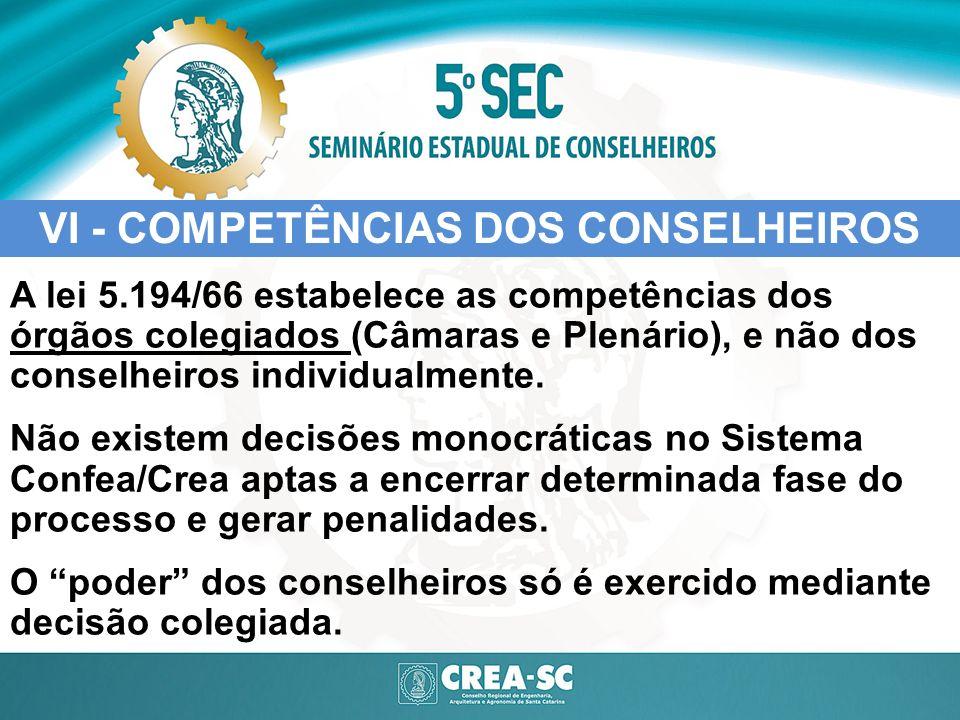 VI - COMPETÊNCIAS DOS CONSELHEIROS A lei 5.194/66 estabelece as competências dos órgãos colegiados (Câmaras e Plenário), e não dos conselheiros indivi