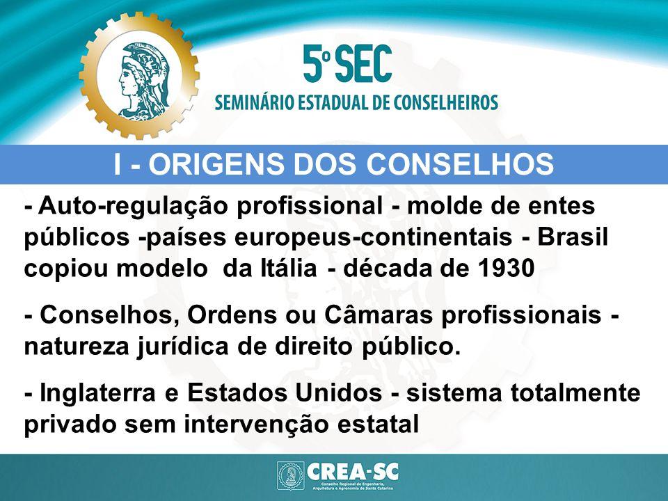 - Auto-regulação profissional - molde de entes públicos -países europeus-continentais - Brasil copiou modelo da Itália - década de 1930 - Conselhos, O