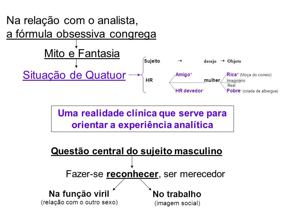 Na relação com o analista, a fórmula obsessiva congrega Mito e Fantasia Amigo + Rica + (Moça do correio) HR mulher Imaginário Real HR devedor - Pobre