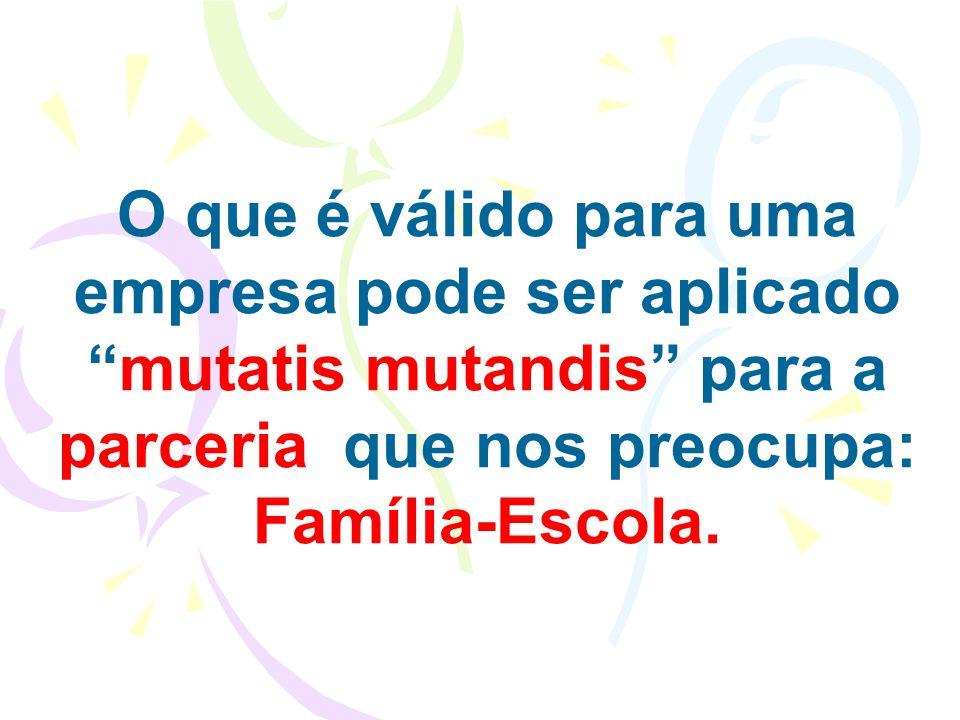 O que é válido para uma empresa pode ser aplicadomutatis mutandis para a parceria que nos preocupa: Família-Escola.
