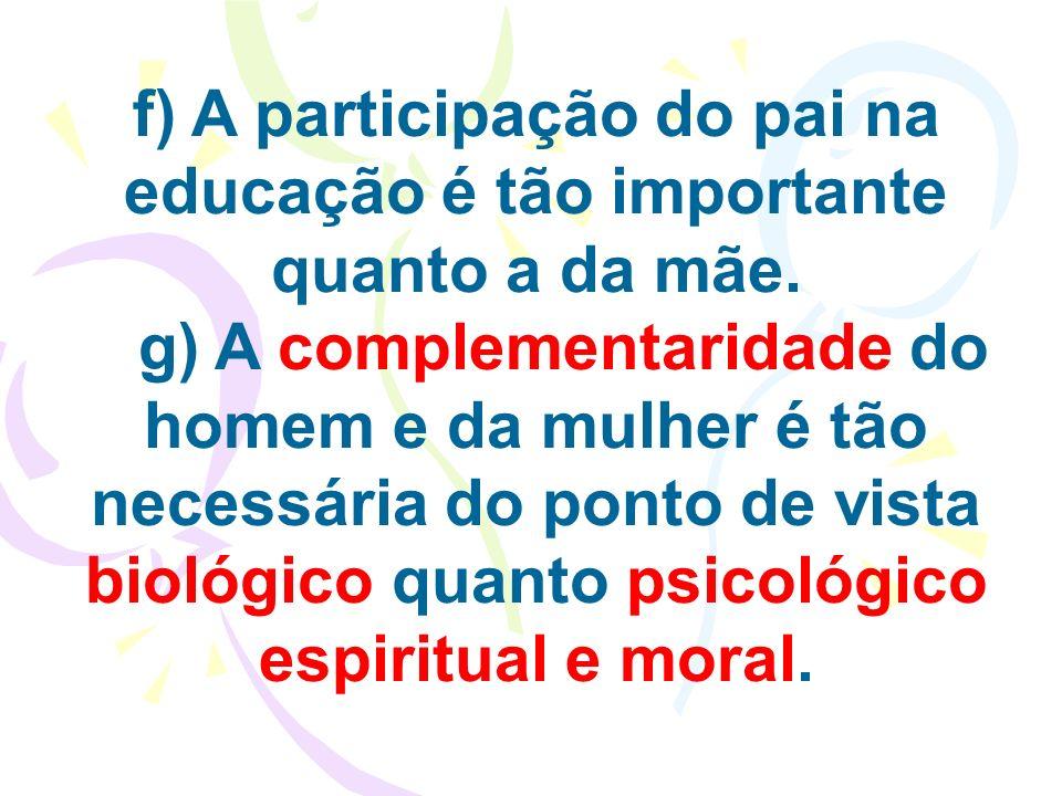 f) A participação do pai na educação é tão importante quanto a da mãe. g) A complementaridade do homem e da mulher é tão necessária do ponto de vista