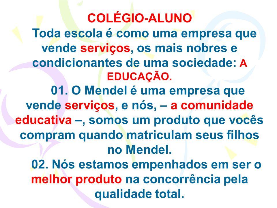 COLÉGIO-ALUNO Toda escola é como uma empresa que vende serviços, os mais nobres e condicionantes de uma sociedade: A EDUCAÇÃO. 01. O Mendel é uma empr