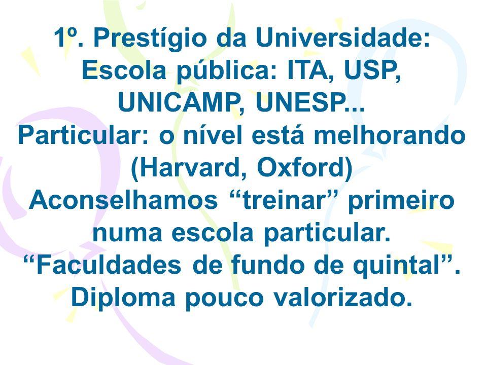 1º. Prestígio da Universidade: Escola pública: ITA, USP, UNICAMP, UNESP... Particular: o nível está melhorando (Harvard, Oxford) Aconselhamos treinar