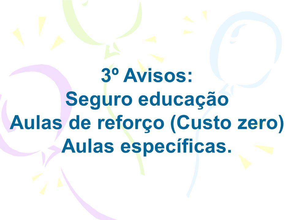 3º Avisos: Seguro educação Aulas de reforço (Custo zero) Aulas específicas.
