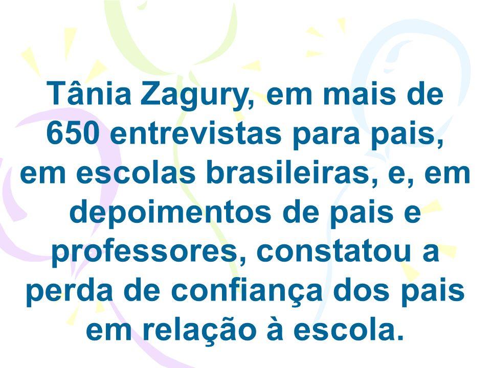 Tânia Zagury, em mais de 650 entrevistas para pais, em escolas brasileiras, e, em depoimentos de pais e professores, constatou a perda de confiança do