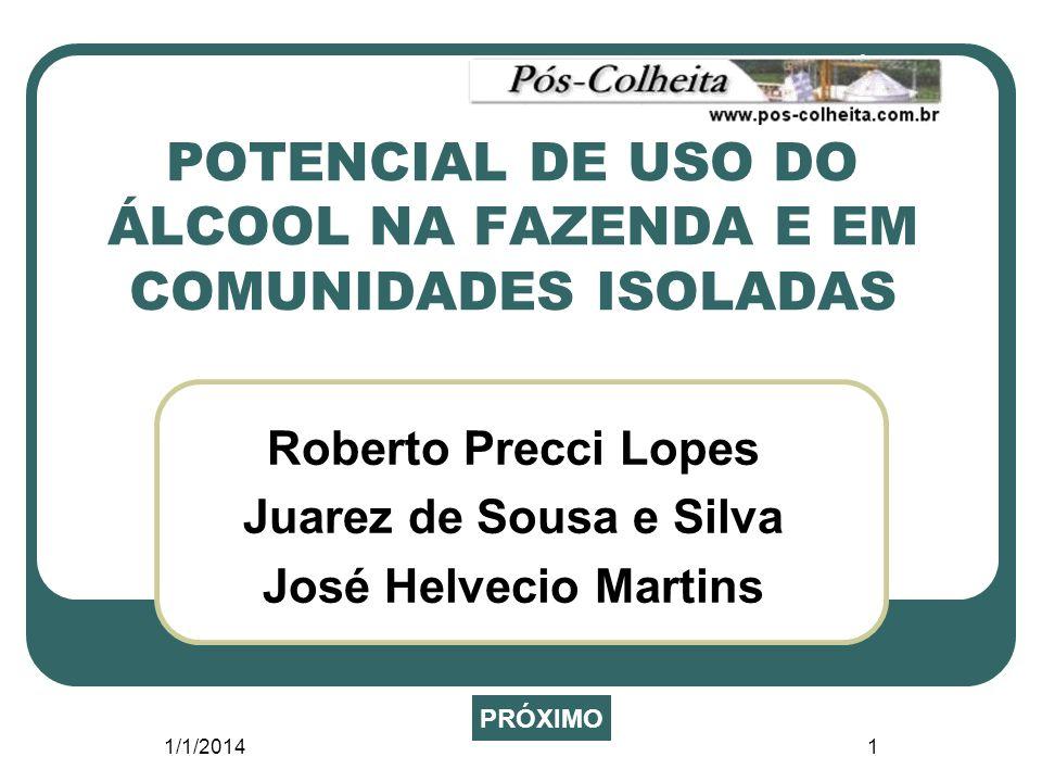 1/1/20141 POTENCIAL DE USO DO ÁLCOOL NA FAZENDA E EM COMUNIDADES ISOLADAS Roberto Precci Lopes Juarez de Sousa e Silva José Helvecio Martins PRÓXIMO
