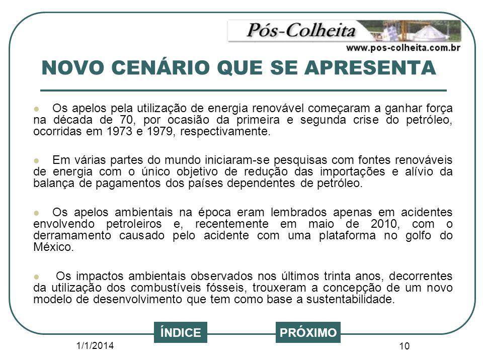 1/1/2014 10 NOVO CENÁRIO QUE SE APRESENTA Os apelos pela utilização de energia renovável começaram a ganhar força na década de 70, por ocasião da prim