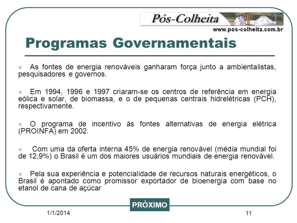 1/1/2014 11 Programas Governamentais As fontes de energia renováveis ganharam força junto a ambientalistas, pesquisadores e governos. Em 1994, 1996 e