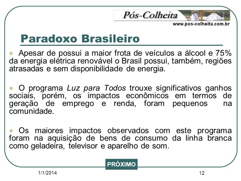 1/1/2014 12 Paradoxo Brasileiro Apesar de possui a maior frota de veículos a álcool e 75% da energia elétrica renovável o Brasil possui, também, regiõ