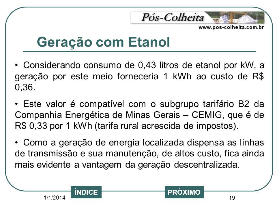 1/1/2014 19 PRÓXIMOÍNDICE Considerando consumo de 0,43 litros de etanol por kW, a geração por este meio forneceria 1 kWh ao custo de R$ 0,36. Este val