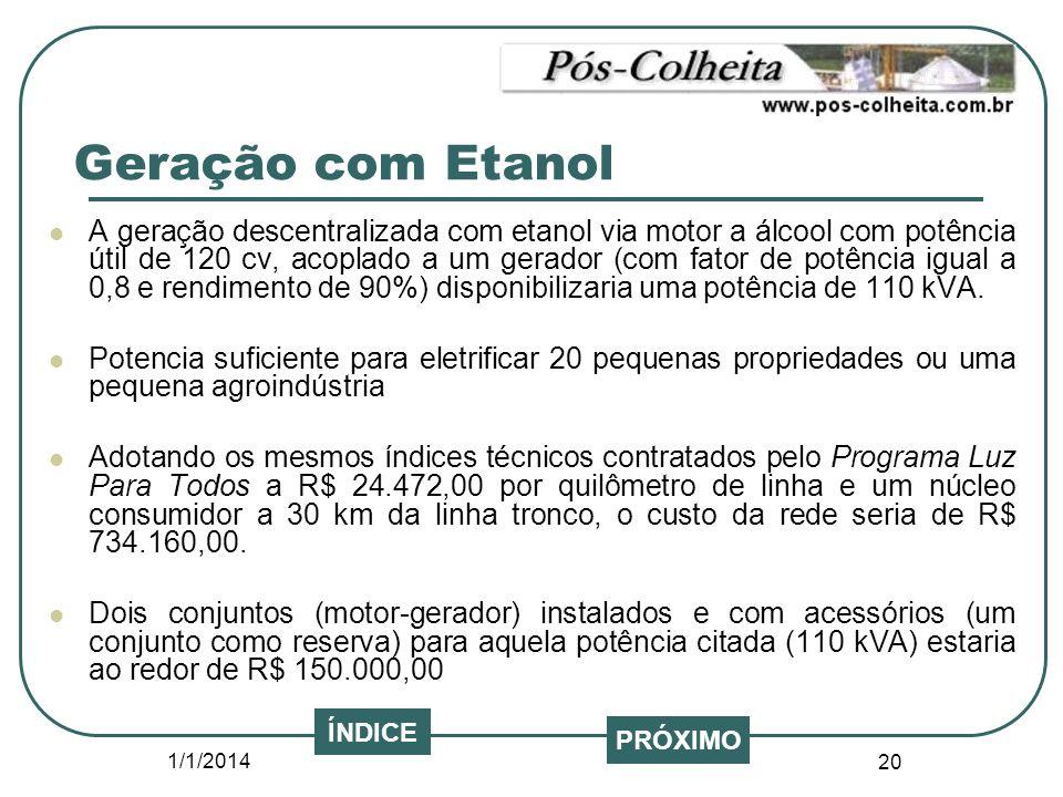 1/1/2014 20 PRÓXIMO ÍNDICE A geração descentralizada com etanol via motor a álcool com potência útil de 120 cv, acoplado a um gerador (com fator de po