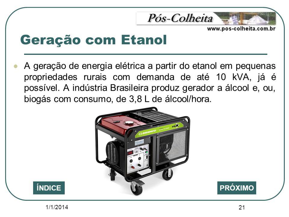 1/1/2014 21 PRÓXIMOÍNDICE A geração de energia elétrica a partir do etanol em pequenas propriedades rurais com demanda de até 10 kVA, já é possível. A