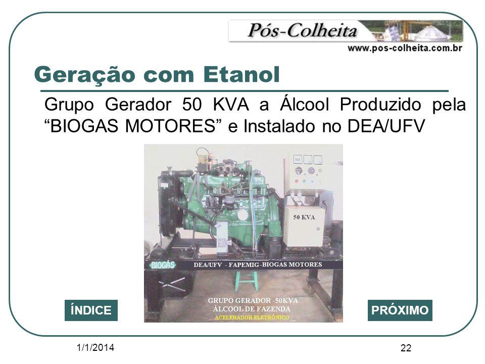 1/1/2014 22 PRÓXIMOÍNDICE Grupo Gerador 50 KVA a Álcool Produzido pela BIOGAS MOTORES e Instalado no DEA/UFV Geração com Etanol