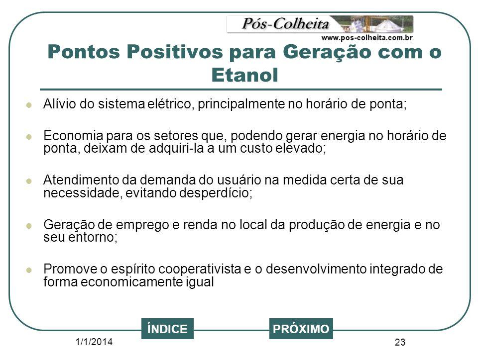 1/1/2014 23 PRÓXIMOÍNDICE Alívio do sistema elétrico, principalmente no horário de ponta; Economia para os setores que, podendo gerar energia no horár