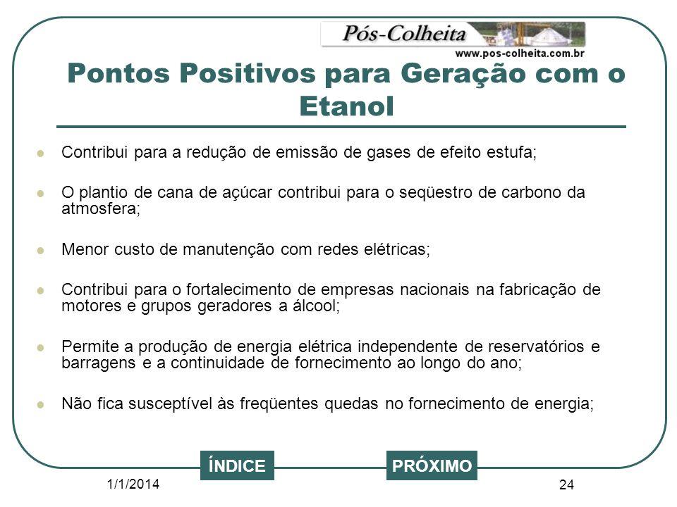1/1/2014 24 PRÓXIMOÍNDICE Contribui para a redução de emissão de gases de efeito estufa; O plantio de cana de açúcar contribui para o seqüestro de car