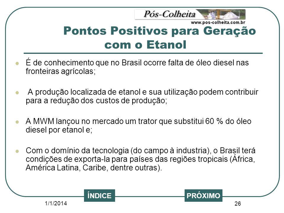 1/1/2014 26 PRÓXIMOÍNDICE É de conhecimento que no Brasil ocorre falta de óleo diesel nas fronteiras agrícolas; A produção localizada de etanol e sua