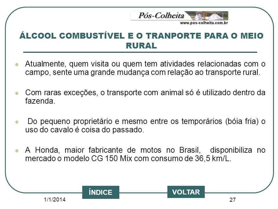 1/1/2014 27 VOLTAR ÍNDICE Atualmente, quem visita ou quem tem atividades relacionadas com o campo, sente uma grande mudança com relação ao transporte