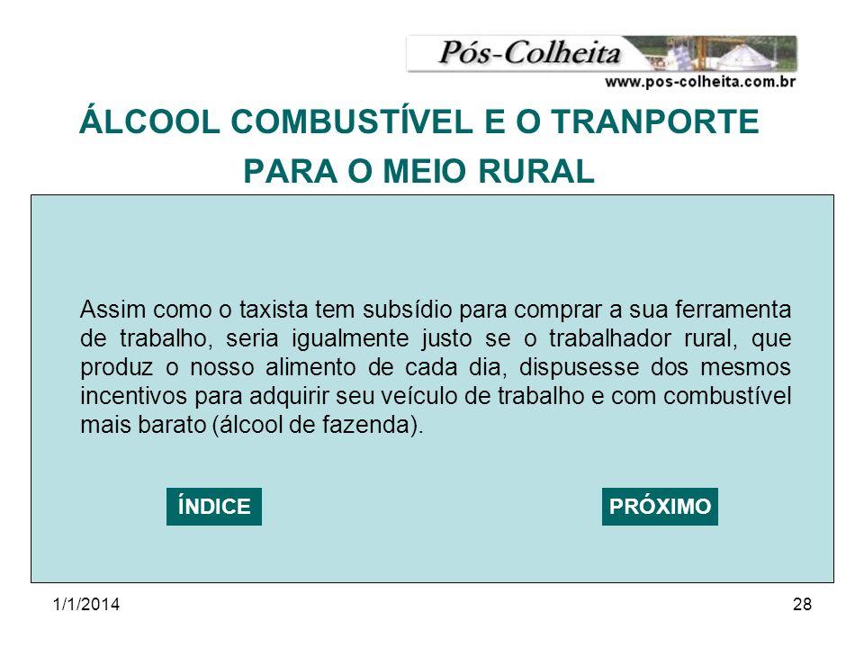1/1/201428 PRÓXIMOÍNDICE ÁLCOOL COMBUSTÍVEL E O TRANPORTE PARA O MEIO RURAL Assim como o taxista tem subsídio para comprar a sua ferramenta de trabalh
