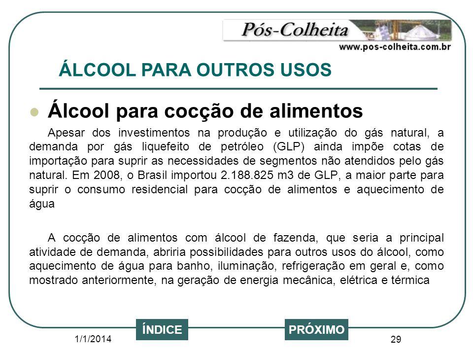 1/1/2014 29 Álcool para cocção de alimentos Apesar dos investimentos na produção e utilização do gás natural, a demanda por gás liquefeito de petróleo