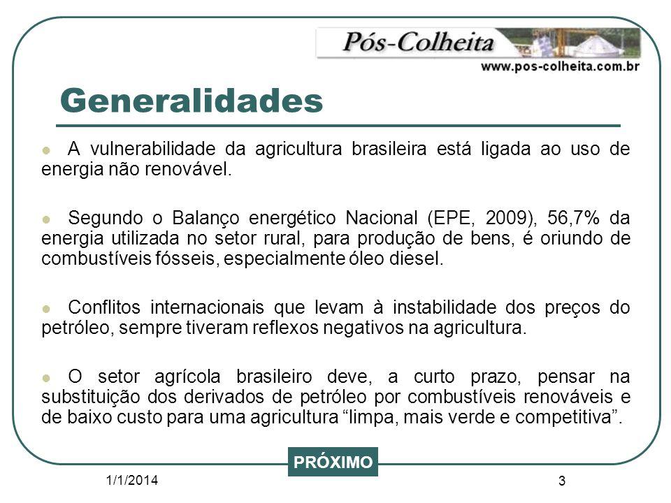1/1/2014 3 Generalidades A vulnerabilidade da agricultura brasileira está ligada ao uso de energia não renovável. Segundo o Balanço energético Naciona