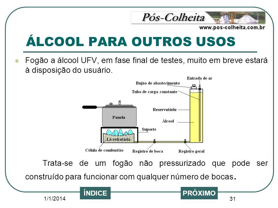 1/1/2014 31 PRÓXIMO Fogão a álcool UFV, em fase final de testes, muito em breve estará à disposição do usuário. Trata-se de um fogão não pressurizado