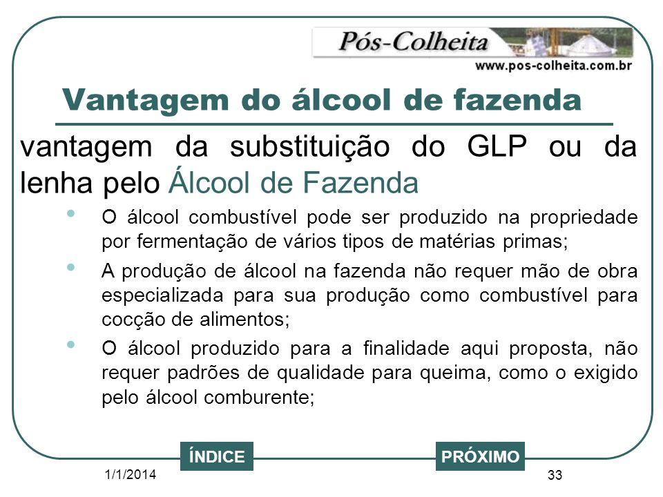 1/1/2014 33 PRÓXIMO vantagem da substituição do GLP ou da lenha pelo Álcool de Fazenda O álcool combustível pode ser produzido na propriedade por ferm