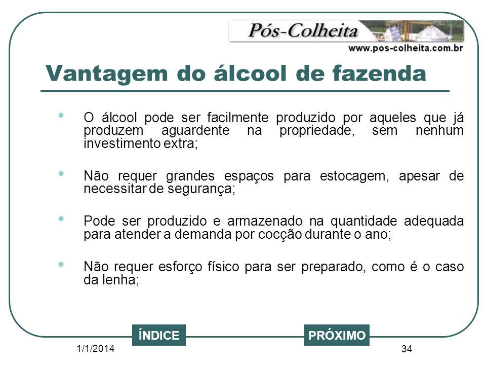 1/1/2014 34 PRÓXIMO O álcool pode ser facilmente produzido por aqueles que já produzem aguardente na propriedade, sem nenhum investimento extra; Não r