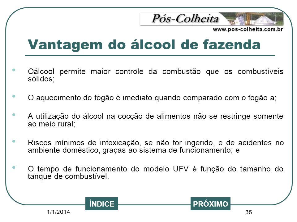 1/1/2014 35 PRÓXIMO Oálcool permite maior controle da combustão que os combustíveis sólidos; O aquecimento do fogão é imediato quando comparado com o