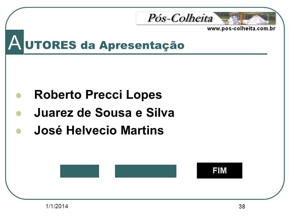 1/1/2014 38 UTORES da Apresentação A Roberto Precci Lopes Juarez de Sousa e Silva José Helvecio Martins FIM