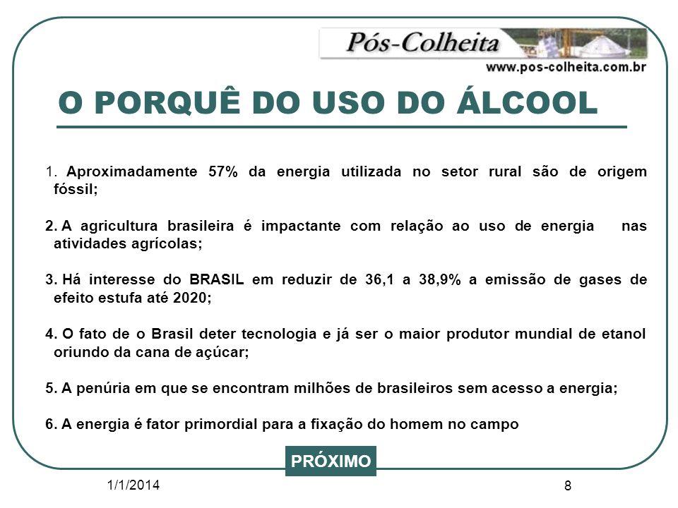 1/1/2014 8 O PORQUÊ DO USO DO ÁLCOOL 1. Aproximadamente 57% da energia utilizada no setor rural são de origem fóssil; 2. A agricultura brasileira é im