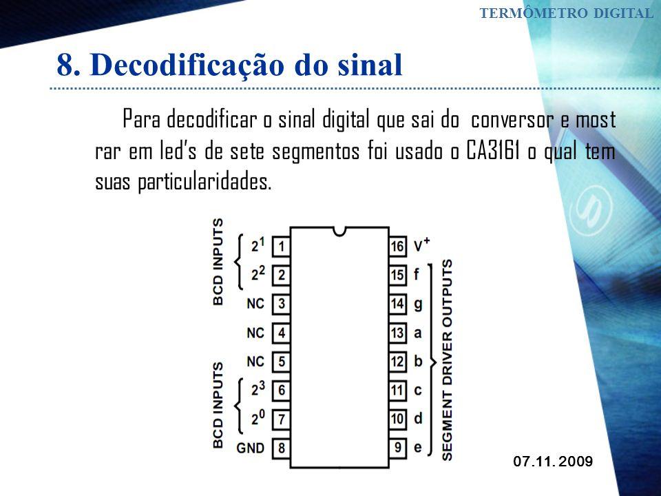 07.11. 2009 TERMÔMETRO DIGITAL 7. Conversão do sinal Multiplexação do sinal
