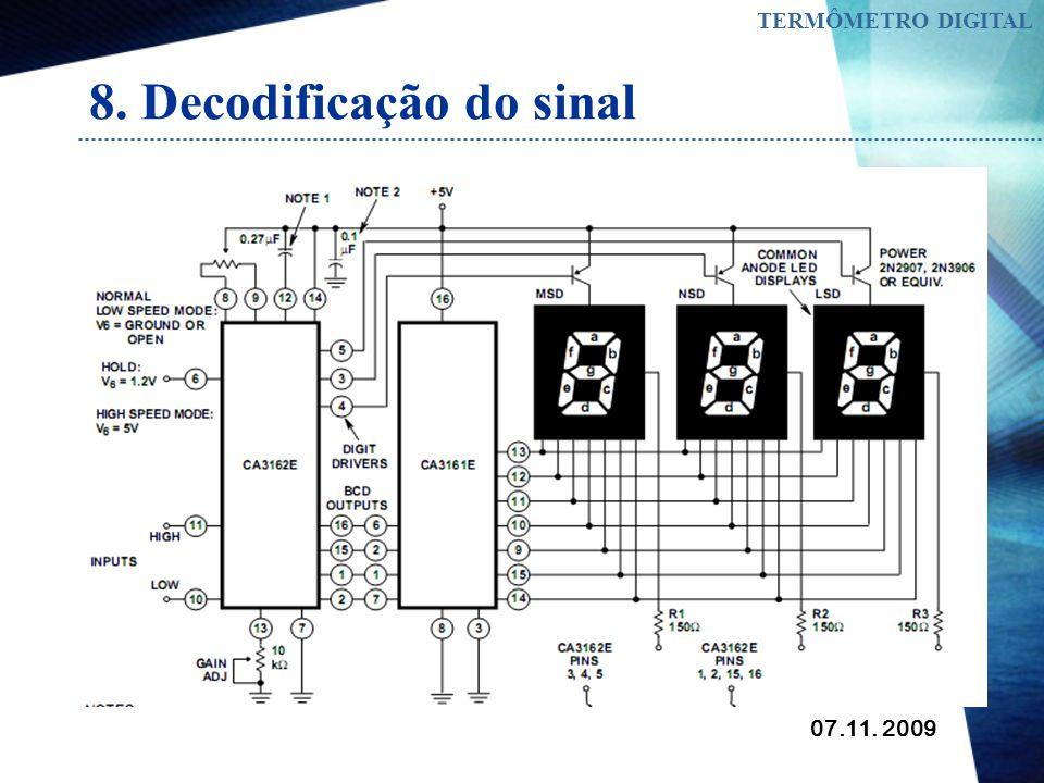 07.11. 2009 TERMÔMETRO DIGITAL 8. Decodificação do sinal Para decodificar o sinal digital que sai do conversor e most rar em leds de sete segmentos fo