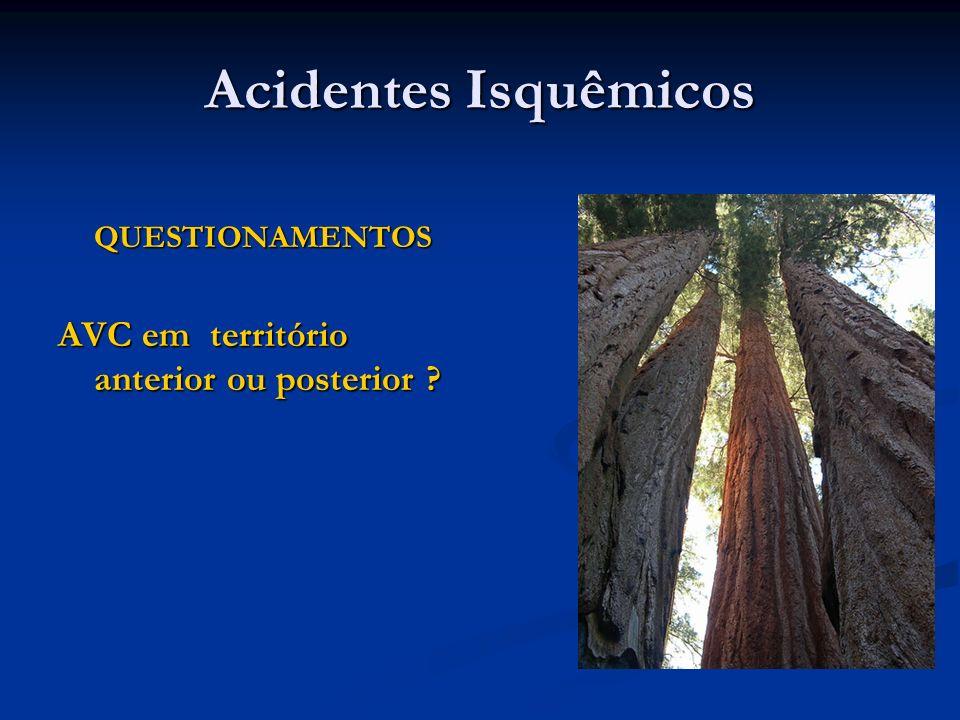 Acidentes Isquêmicos QUESTIONAMENTOS QUESTIONAMENTOS AVC em território anterior ou posterior ?