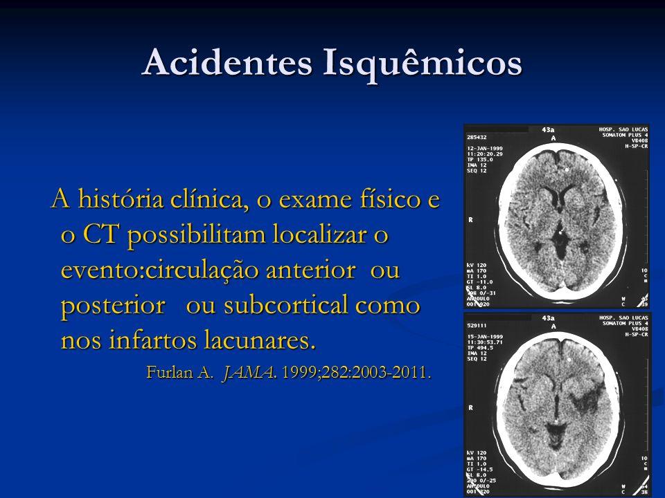 Acidentes Isquêmicos A história clínica, o exame físico e o CT possibilitam localizar o evento:circulação anterior ou posterior ou subcortical como no