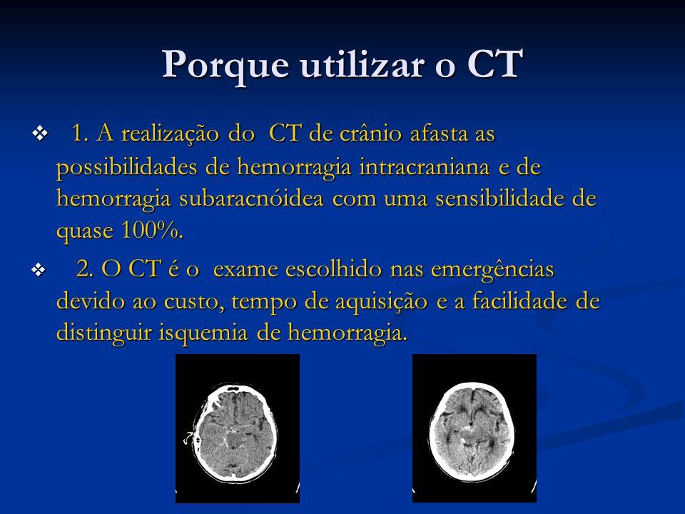Porque utilizar o CT 1. A realização do CT de crânio afasta as possibilidades de hemorragia intracraniana e de hemorragia subaracnóidea com uma sensib