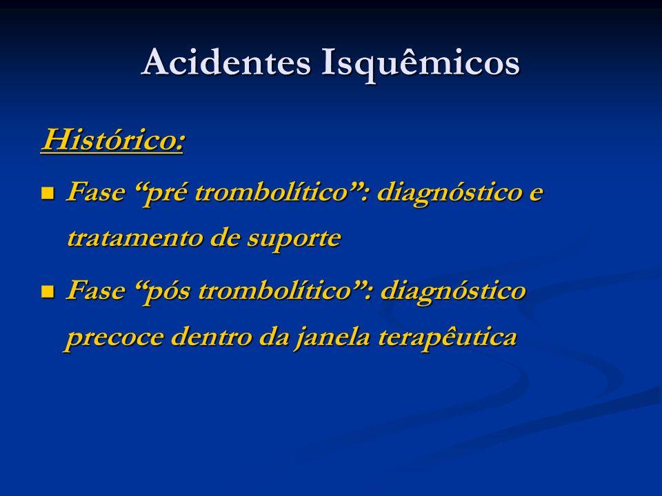 Acidentes Isquêmicos Histórico: Fase pré trombolítico: diagnóstico e tratamento de suporte Fase pré trombolítico: diagnóstico e tratamento de suporte