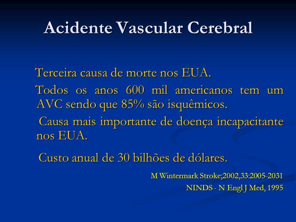 Acidente Vascular Cerebral Terceira causa de morte nos EUA. Terceira causa de morte nos EUA. Todos os anos 600 mil americanos tem um AVC sendo que 85%
