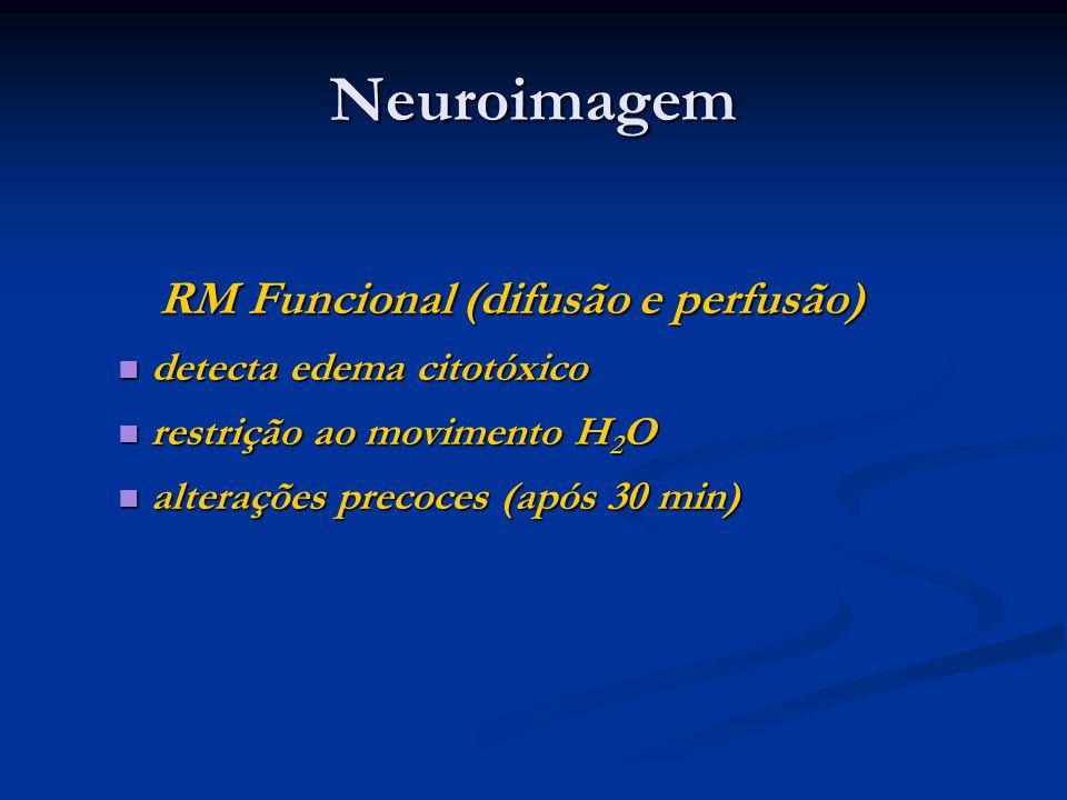 Neuroimagem RM Funcional (difusão e perfusão) RM Funcional (difusão e perfusão) detecta edema citotóxico detecta edema citotóxico restrição ao movimen