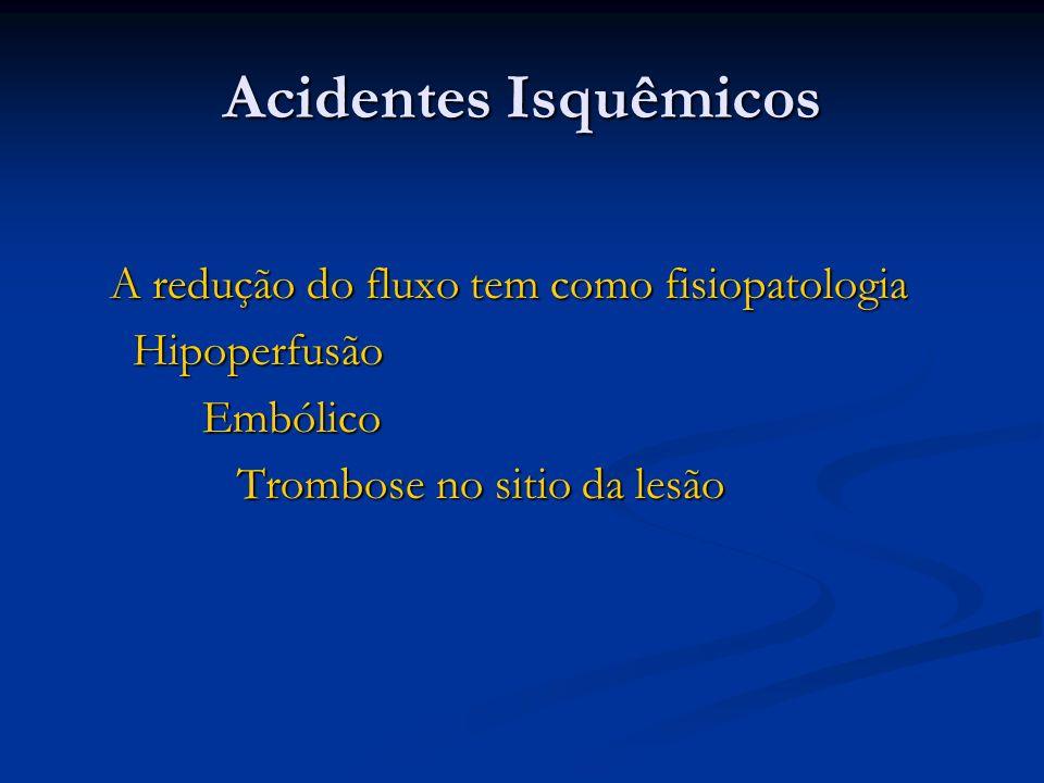Acidentes Isquêmicos A redução do fluxo tem como fisiopatologia A redução do fluxo tem como fisiopatologia Hipoperfusão Hipoperfusão Embólico Embólico