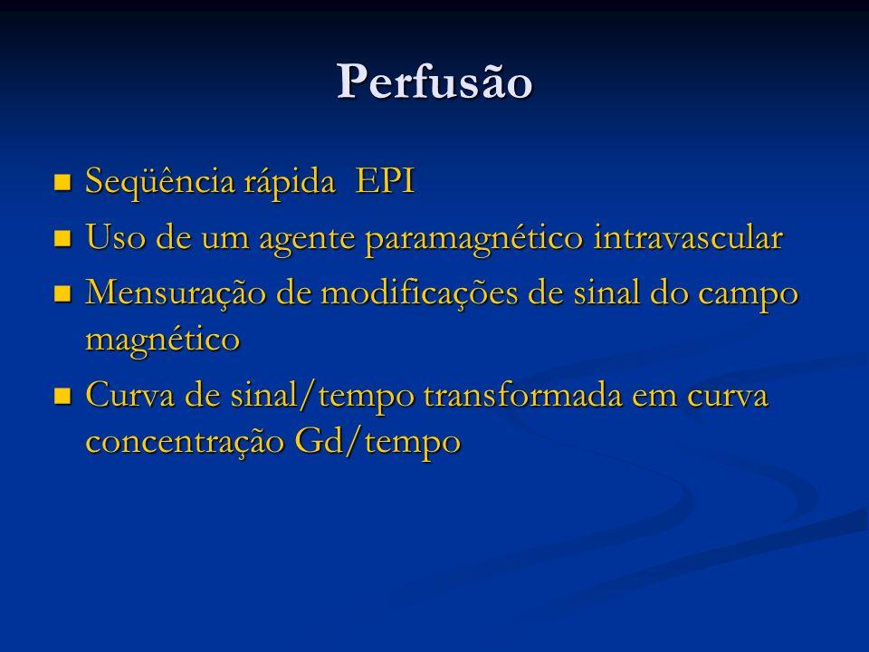 Perfusão Seqüência rápida EPI Seqüência rápida EPI Uso de um agente paramagnético intravascular Uso de um agente paramagnético intravascular Mensuraçã