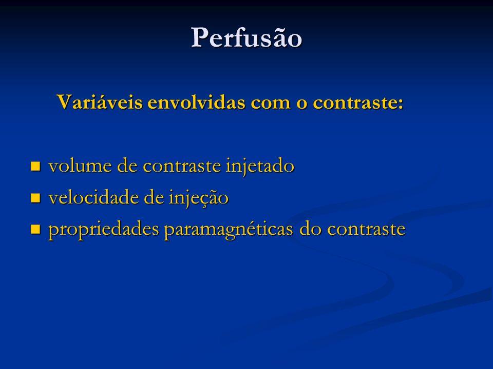 Perfusão Variáveis envolvidas com o contraste: Variáveis envolvidas com o contraste: volume de contraste injetado volume de contraste injetado velocid