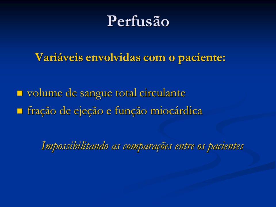 Perfusão Variáveis envolvidas com o paciente: Variáveis envolvidas com o paciente: volume de sangue total circulante volume de sangue total circulante