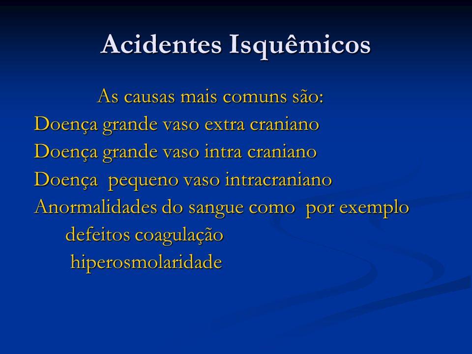 Acidentes Isquêmicos As causas mais comuns são: As causas mais comuns são: Doença grande vaso extra craniano Doença grande vaso extra craniano Doença