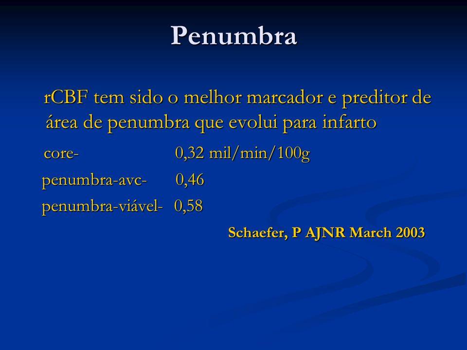 Penumbra rCBF tem sido o melhor marcador e preditor de área de penumbra que evolui para infarto rCBF tem sido o melhor marcador e preditor de área de